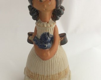 Vintage Mid-Century pottery bell Girl with Bluebird