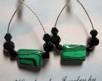 Malachite Twisted Wire earrings