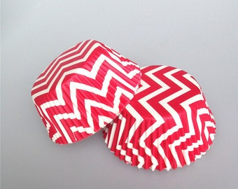 Red Chevron Cupcake Liners, Rainbow Cupcake Cases, Baking Cups, Baking Cases - CL018