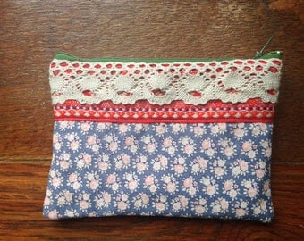 Handmade Purse Vintage & Upcycled Fabric Clutch Floral