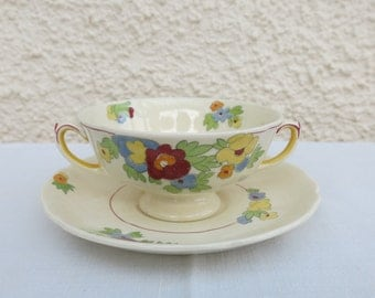 Art Deco Soup Cup and Saucers by Royal Doulton