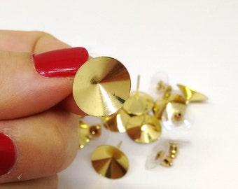 Round Earstud Settings, Gold Finished Brass, 14.5mm  Setting for 14mm Rivoli, Swarovski 1122 Chaton Setting, Earring Finding, Diy, TM2103