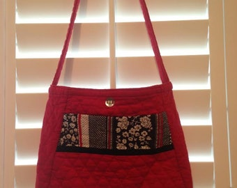 Handmade Red Quilted Tote Purse
