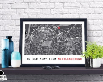 Middlesbrough Football Poster, Football Poster, Football Print, Gift, Map Print