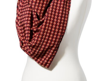 Handmade Red and Yellow Print Square Scarf