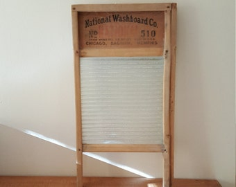Washboard~Antique Glass Wash Board~ National Washboard~#510 Vintage Wooden Washboard~Antique Wash Board~Vintage Laundry Board