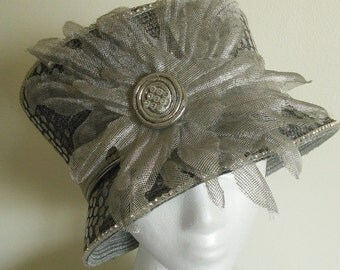 Handmade Silver Sequined flower Hat