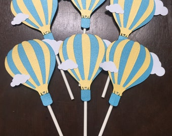 "Hot Air Balloon Cupcake Toppers ""Up, Up, and Away!"" with clouds Baby Shower Birthday"