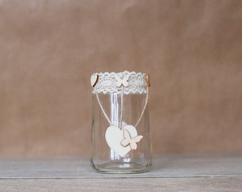 Rustic Heart Butterfly Jars - Small
