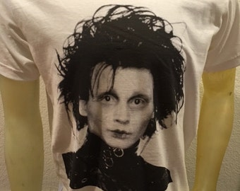 Johnny Depp Edward Scissorhands T-shirt in White M,L