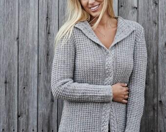 Women's waffle knit cardigan PDF knitting pattern /Cable knit sweater pattern/Raglan sleeve cardi  pattern/Hand knitting pattern