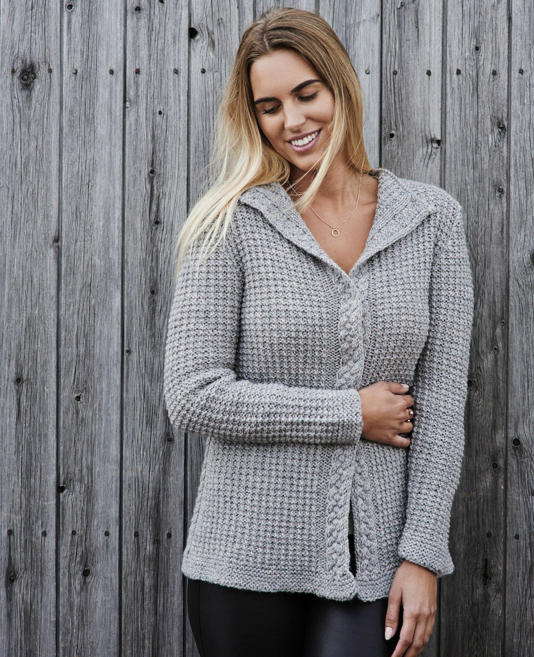 Women's waffle knit cardigan PDF knitting pattern /Cable