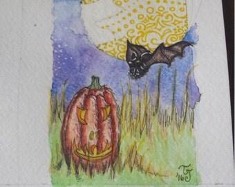 Black Bat Halloween Original Watercolor 3x5in