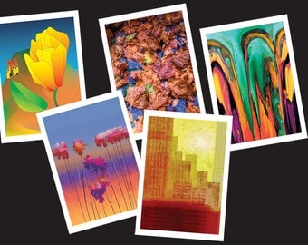 Pack of 5 art cards with envelopes, blank inside for any occasion