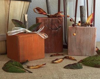 Wooden Pumpkin (set of 3) - Free Shipping - Thanksgiving, Fall, & Halloween Décor
