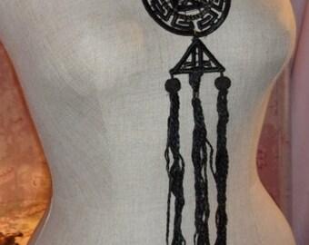 A big old Locket, pendant, silk, necklace, black, very original