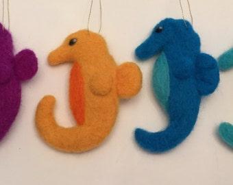 Handmade Needle Felted Seahorse Ornament