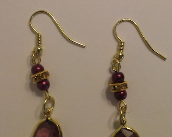 Deep Red Pearl and Crystal Drop Gold Earrings