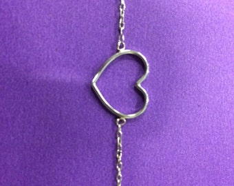 18k white solid gold heart love bracelet adorable for women