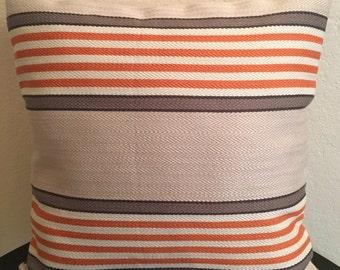 Orange Gray Taupe Striped Pillow