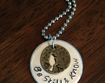 """sparrow necklace, hand stamped """"be still and know"""" necklace, Christian necklace, faith necklace, encouragement gift, scripture necklace"""