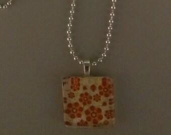 SALE - Orange Flower Glass Tile Necklace