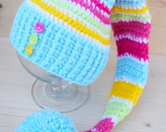 Crochet Elf hat, Elfin Photo Prop, Elfin Newborn Baby Hat, Baby Girl Hat, Gnome hat, a striped Elf hat, newborn photo prop