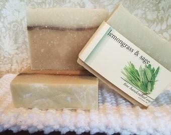 Lemongrass & Sage Soap, Natural Soap, Handcrafted Soap, Natural Bar Soap, Essential Oil Soap