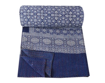Hand Block Print Kantha Quilt,Vegetable Dye Block Print Kantha Bed Cover,Kantha Blanket
