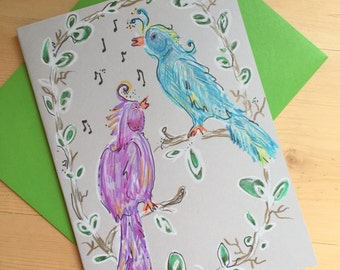 Singing Birds Blank Greeting Card