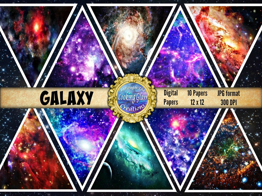 Galaxy digital paper galaxy scrapbook paper space paper for Outer space industrial design