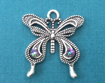 Butterfly Filigree Pendant with Swarovski Crystals