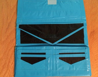 Blue and black duct tape wallet
