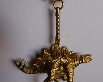 Gold Toy Dinosaur Keychains Stegosaurus; Kid's Keychain; Back to School