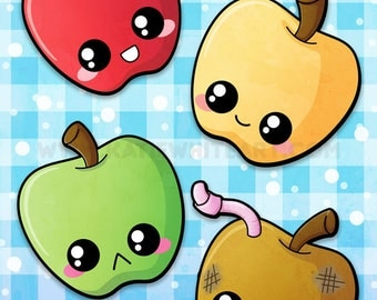 Kawaii Apples A4 Print [Limited]
