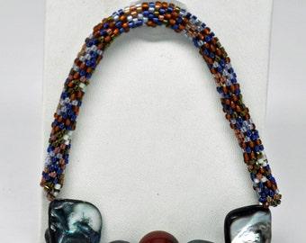 Bead Crochet Bracelet with Grey Pearls