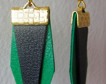 Earrings leather green and black