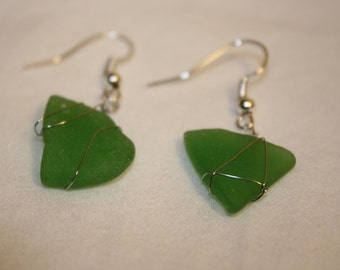 Dark Green Sea Glass Earrings