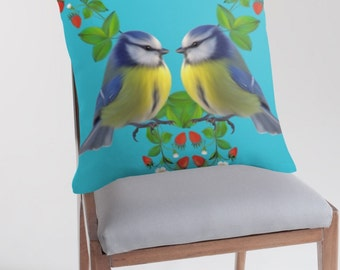 Blue Tits and strawberries  pillow