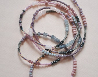 Pink and grey beaded necklace, layering necklace, long necklace