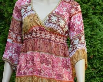 Sheer retro print dress by Funkadelic/ Made in USA