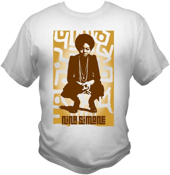 Nina Simone T-Shirt With tribal Background See line Woman