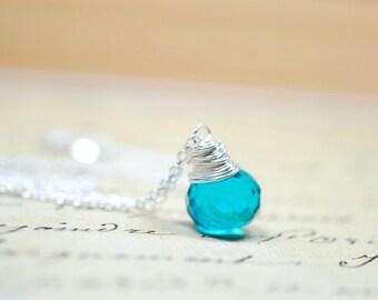 Modern Deep Teal Necklace, Simple Minimalist Jewelry, Blue Green Wire Wrap Briolette, Ocean Blue Stone Sterling Silver Chain