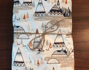 Fitted Crib Sheet in Woodland Oak Teepees. Fitted Crib Sheet. Baby Bedding. Crib Bedding