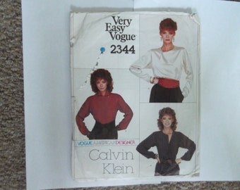 Vogue Calvin Klein very easy 2344 pattern size 8 complete