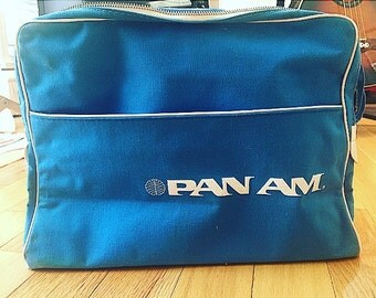 VINTAGE  1960s  Canvas  PAN AM Airlines  Travel Bag/Collectible/Airlines