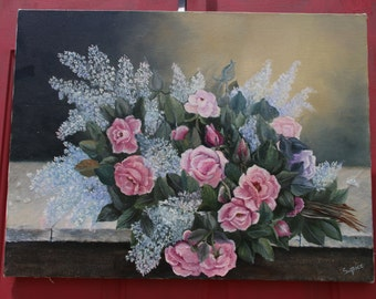 Handpainted Oil Pink Roses Bouquet, Pink Roses Oil Painting, Roses Painting, Roses