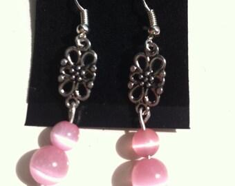 Pink cats eye bead earrings