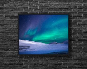 Aurora Borealis Print - Northern Lights Photo - Polar Lights Photo - Winter Photo - Sky Photo Print - Winter Wall Decor - Sky Wall Decor