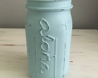 Distressed Light blue mason jar